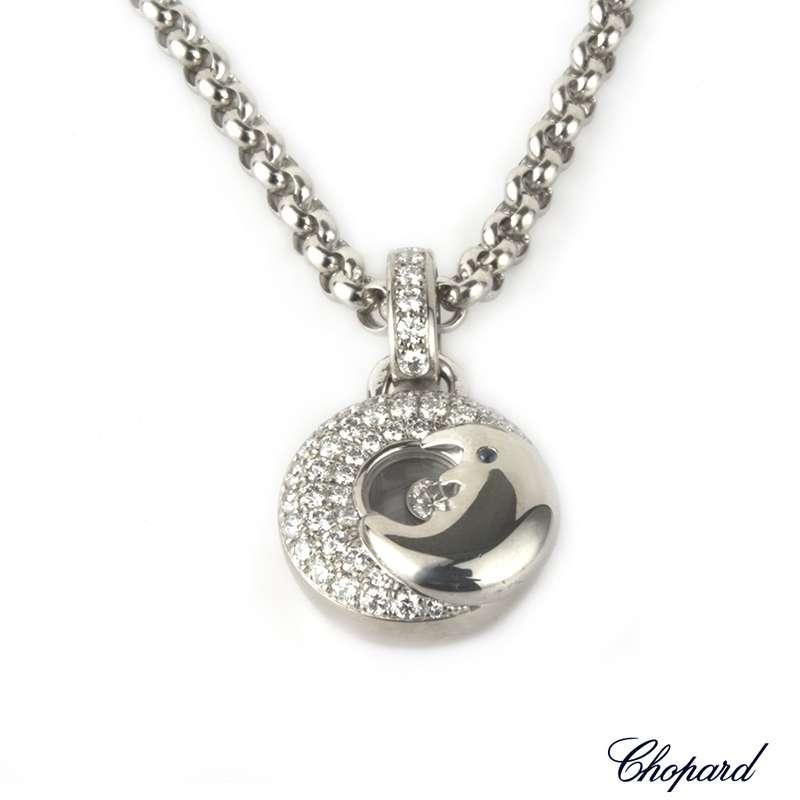 Chopard 18k White Gold Happy Diamonds Moon Pendant B&P 792288-1001